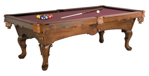 Lafayette Pool Table by Olhausen Billiards. Traditional Mahogany Finish on Maple Wood.