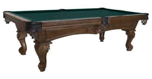 Montrachet Pool Table by Olhausen Billiard. Shown in Traditional Pecan Finish on Maple Wood.