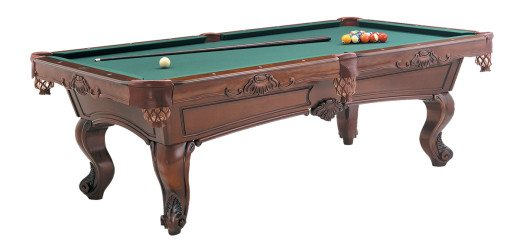Dona Marie Pool Table by Olhausen Billiards. Cinnamon Finish on Maple Wood.