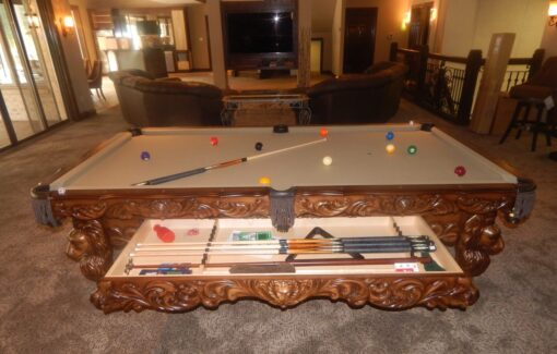 St. Leon Pool Table with Cue Drawer Open.