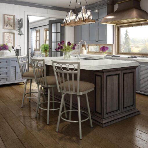 Kitchen counter with Momentum Swivel Stools by Amisco
