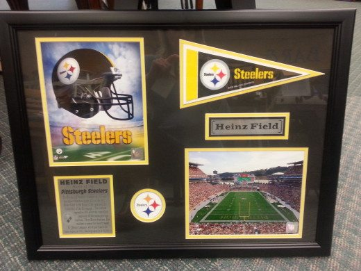 Steelers memorabilia in a frame and mat. Montgomeryville, PA.