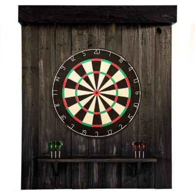 Reclaimed Wood Dartboard Backing - English - Black Finish