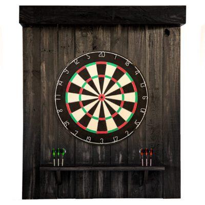 Reclaimed Wood Dartboard Backing - English - Black Finish