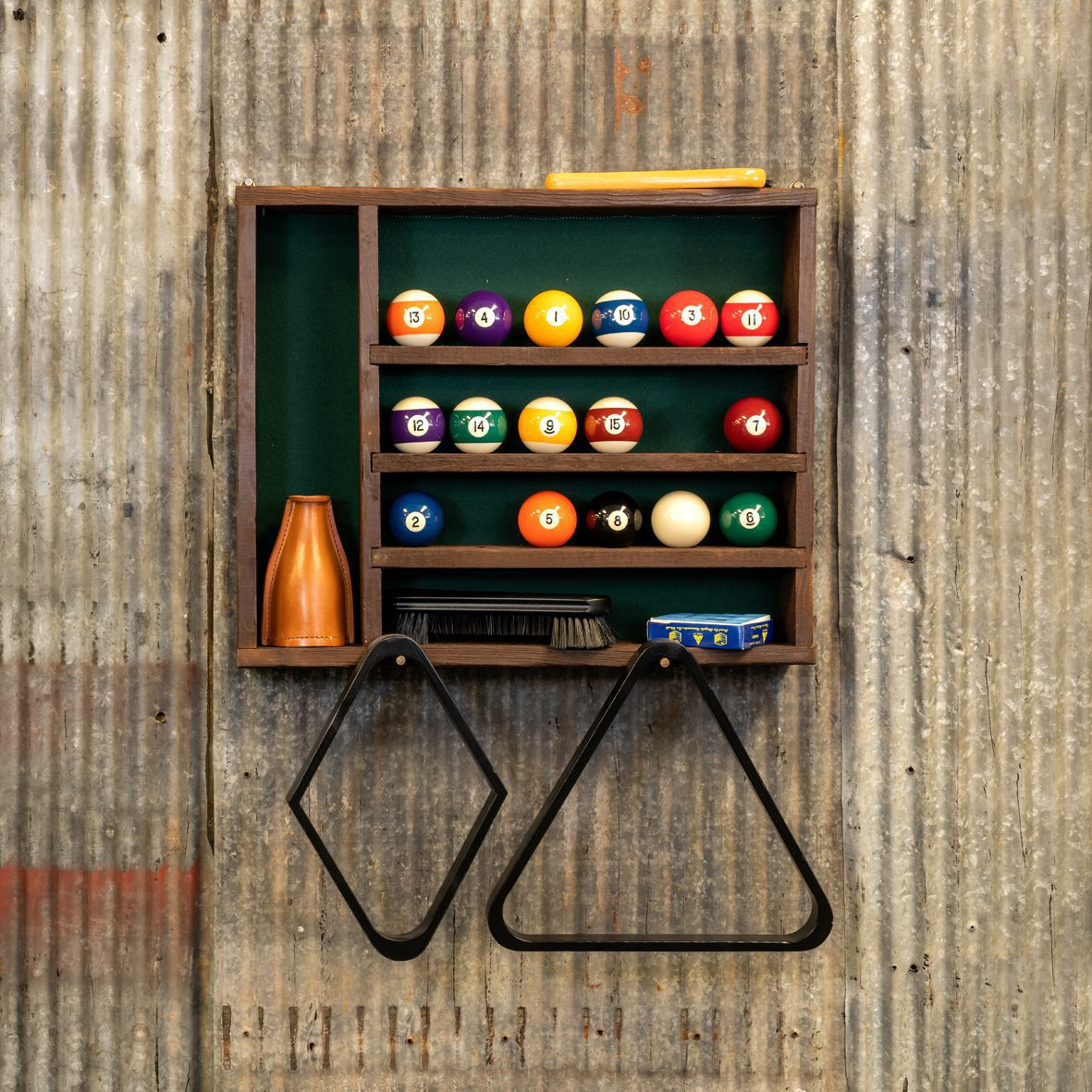 Reclaimed Wood Pool Ball and Accessory Rack Detail