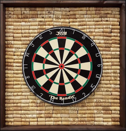 English Dartboard Cabinet with cork back - Walnut