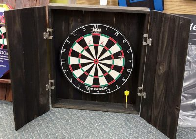 Dartboard cabinet made from reclaimed wood - Open