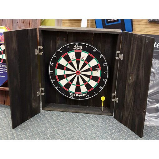 Hand-crafted, reclaimed wood dartboard cabinet - Open