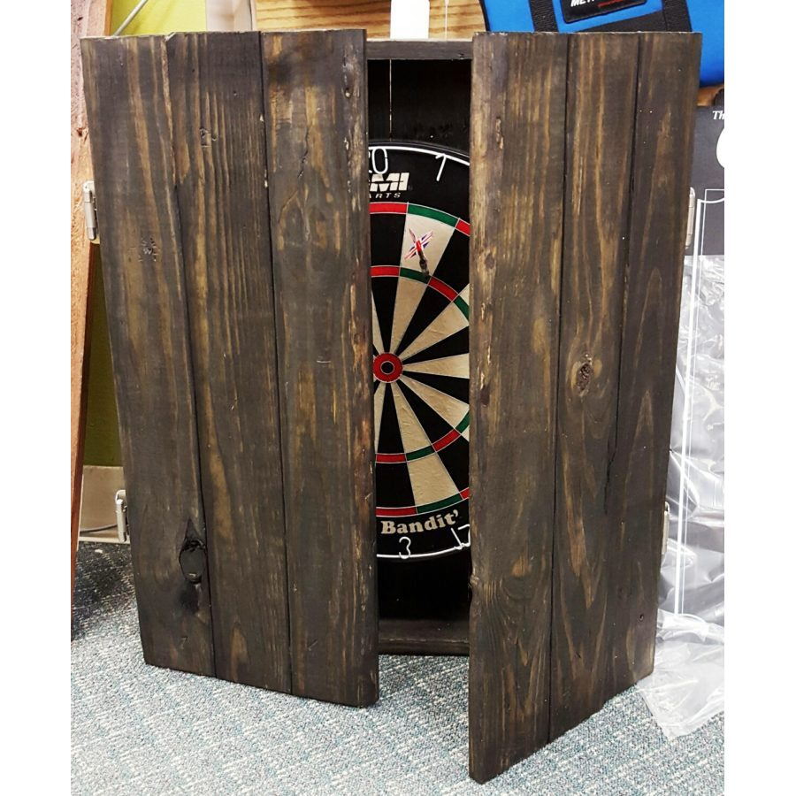 Dartboard cabinet made from reclaimed wood