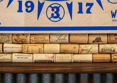 American Dartboard with Bottle Cork Backing Cabinet Detail