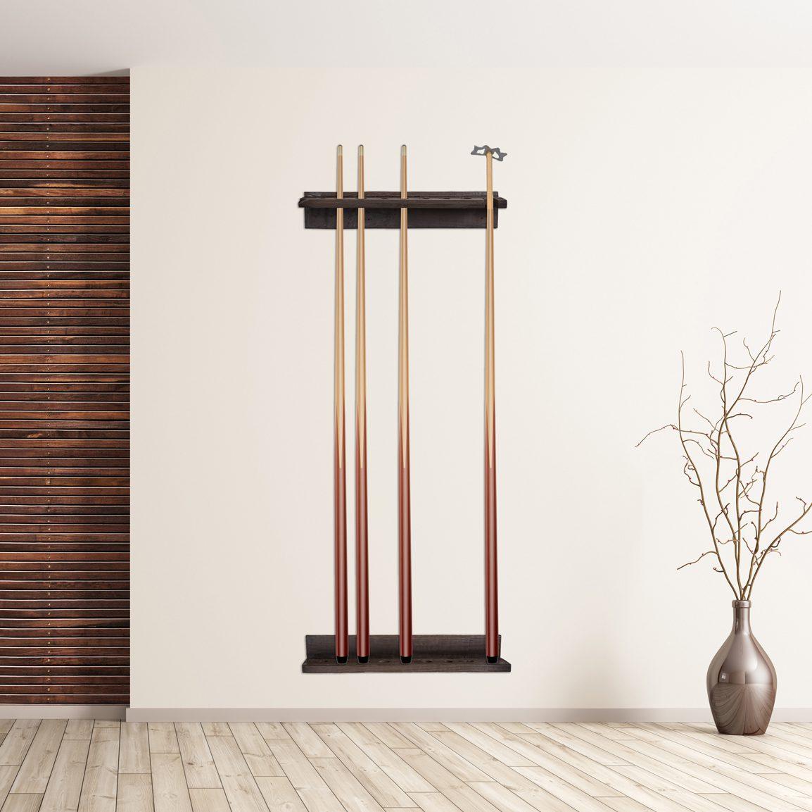Reclaimed Wood Cue Rack in Use