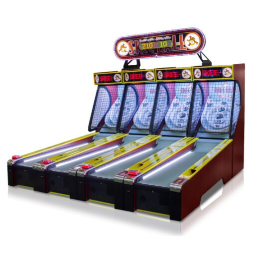 Multiple linked skee-ball units for home
