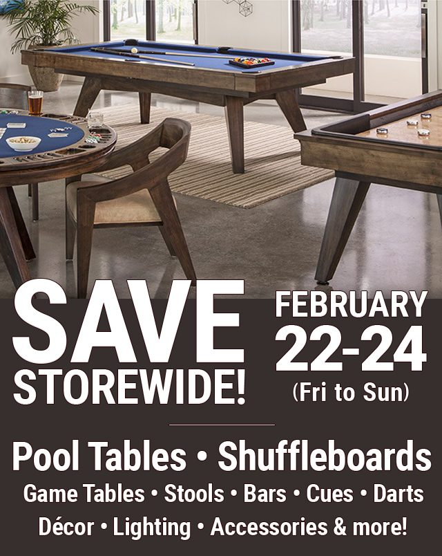 Sale on Pool Tables, Shuffleboards, and Game Room Items