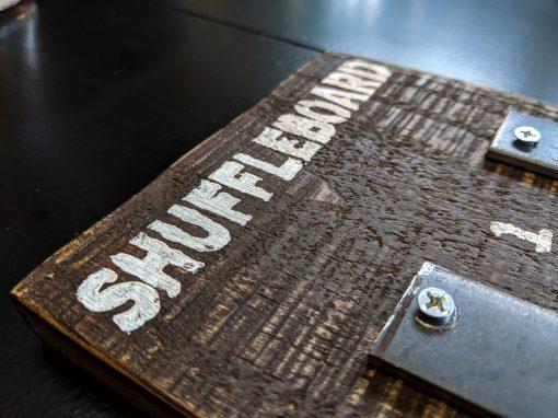 Detail of stencil of Shuffleboard Scoreboard