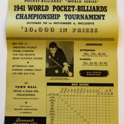 1941 Championship Billiards Vintage Poster