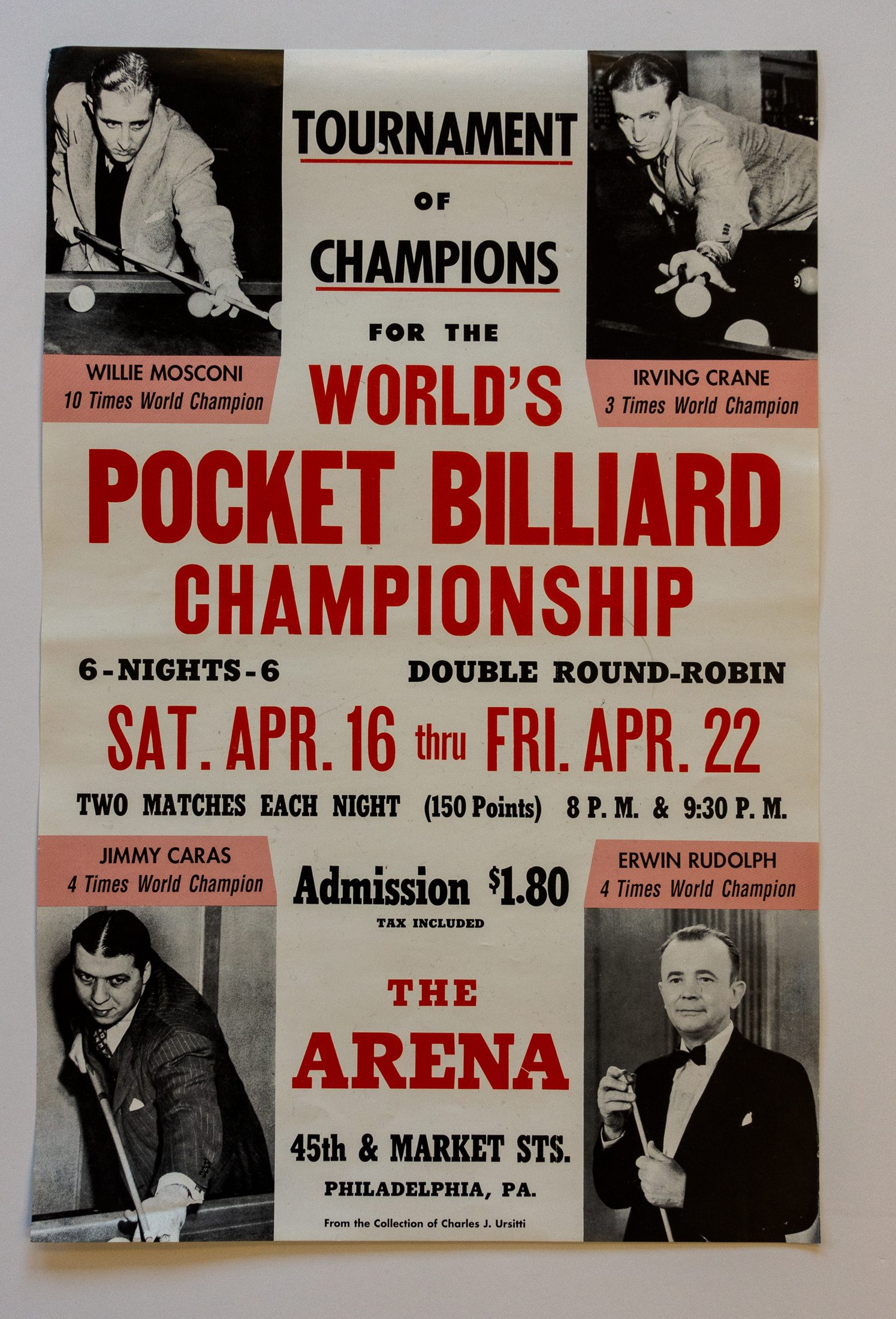 Tournament Of Champions Vintage Billiards Poster