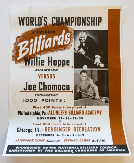 Willie Hoppe Joe Chama Billiards Posters