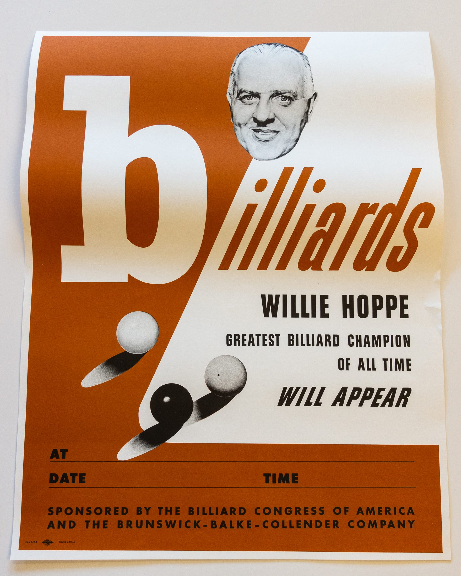 Willie Hoppe billiards poste