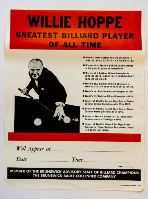 Willie Hoppe billiards poster