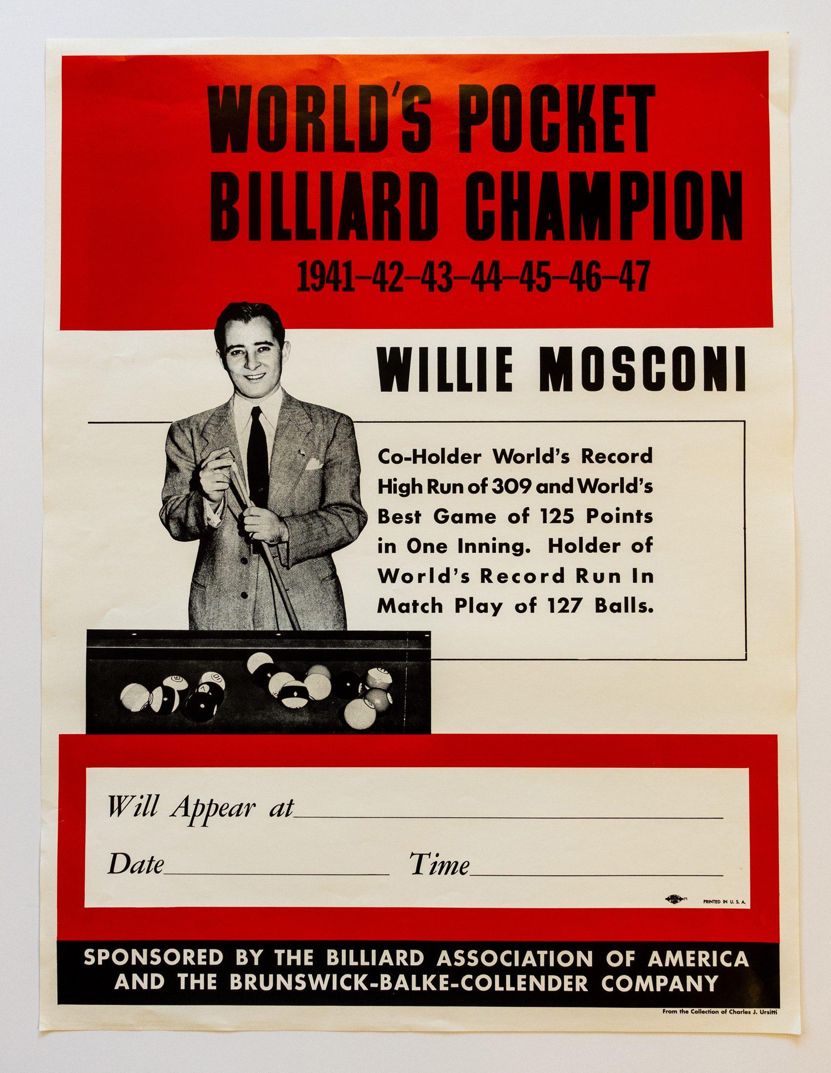 Willie Mosconi Billiards poster-02