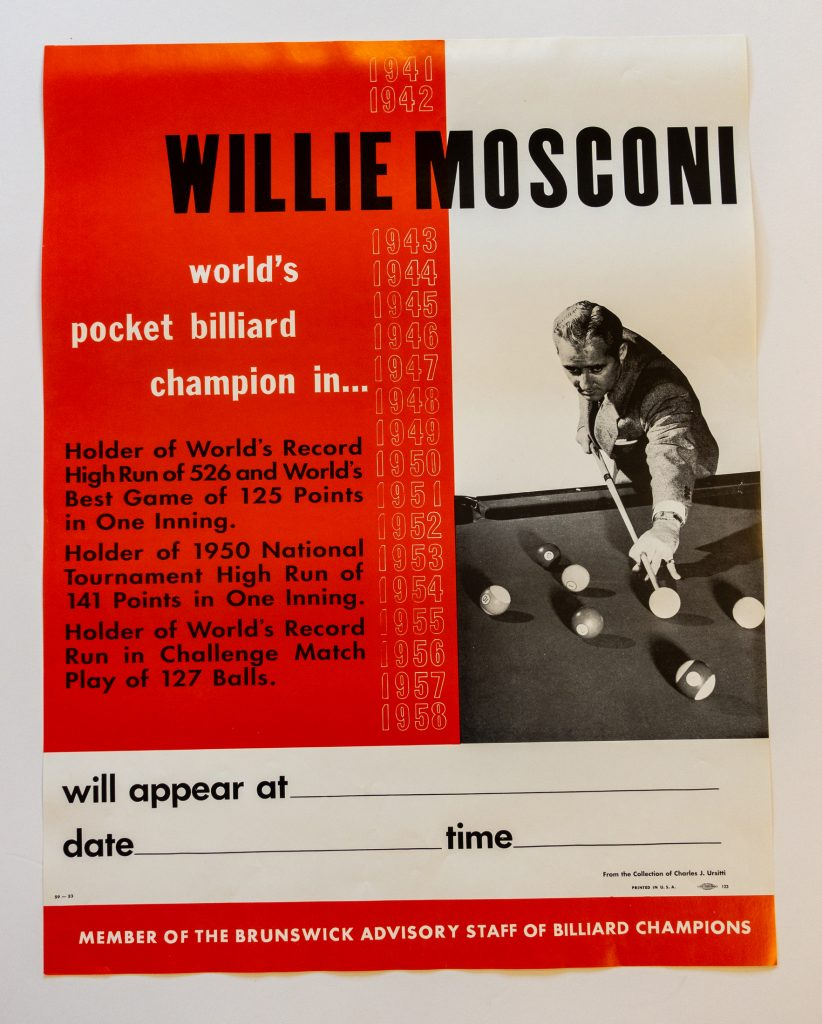 Willie Mosconi Pool Players Vintage Billiards Poster