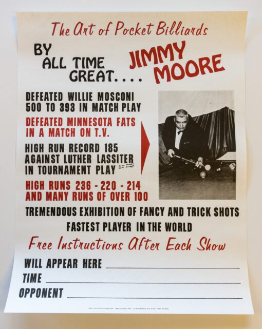 Jimmy Moore Billiards Poster