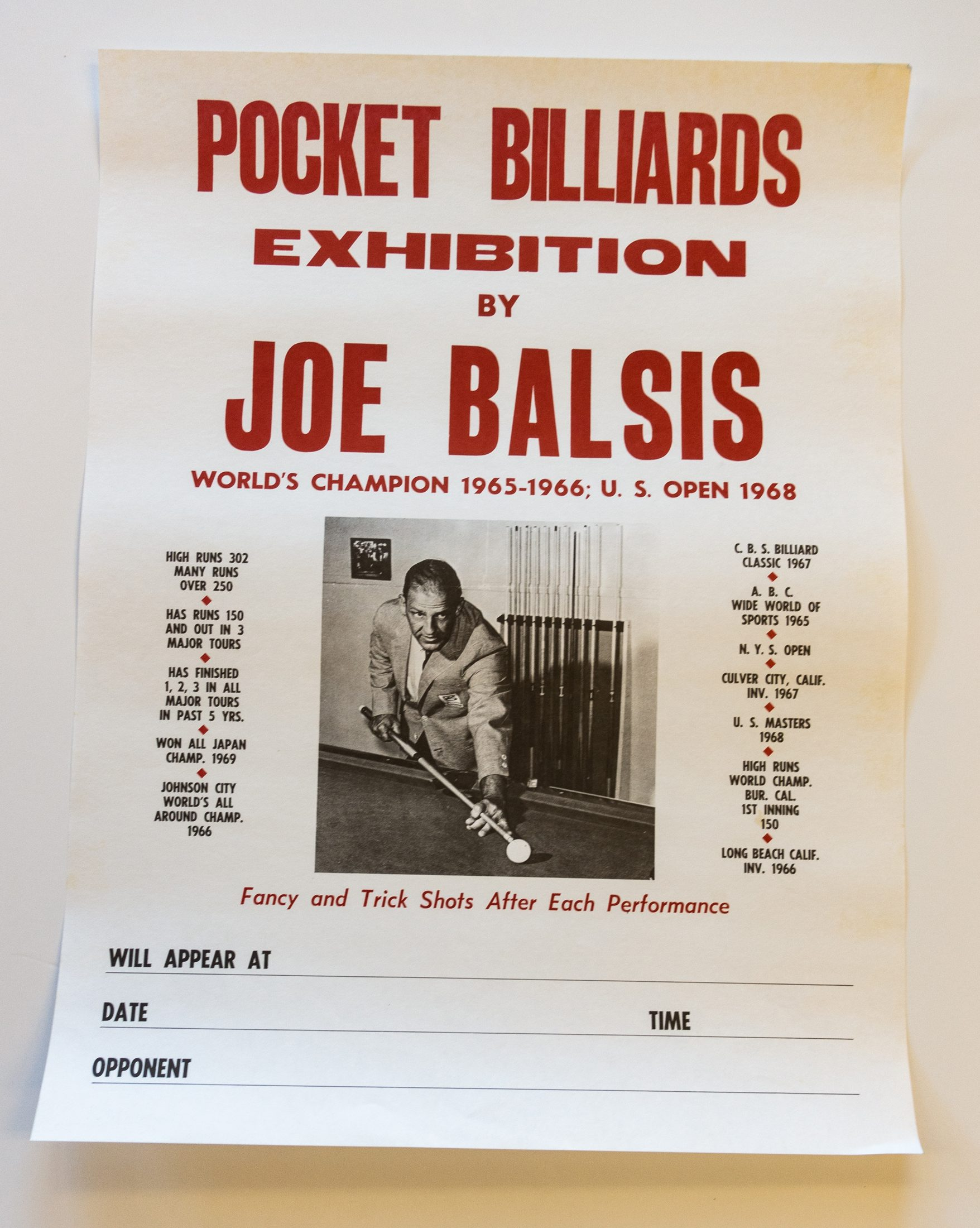 Joe Balsis Billiards poster