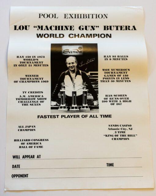 Lou Butera billiard poster