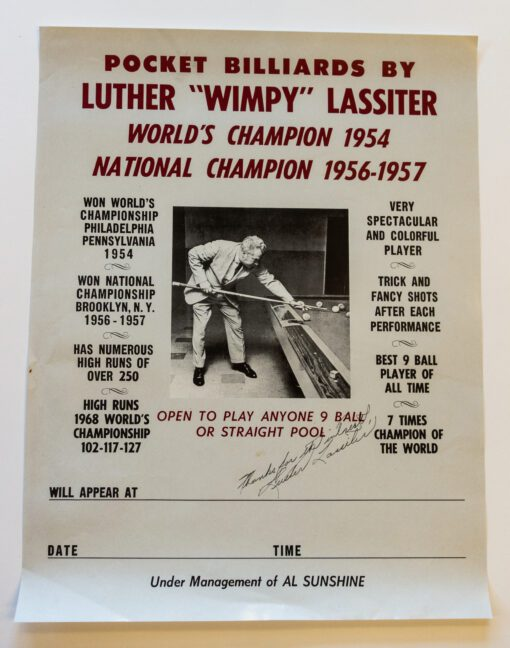 Luther Lassiter Billiards Poster