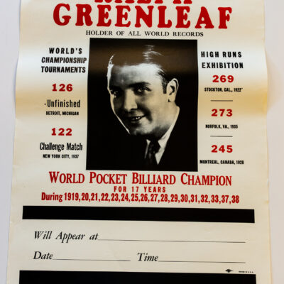 Ralph Greenleaf Billiards poster