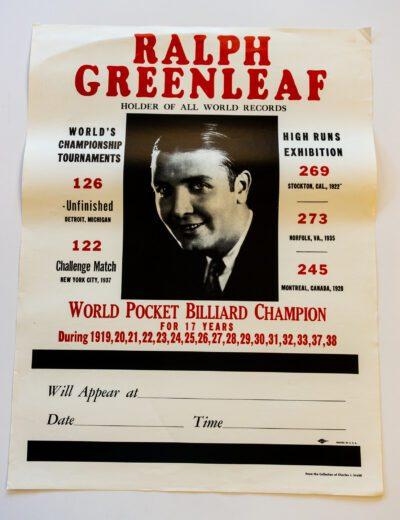 Ralph Greenleaf Billiards poster