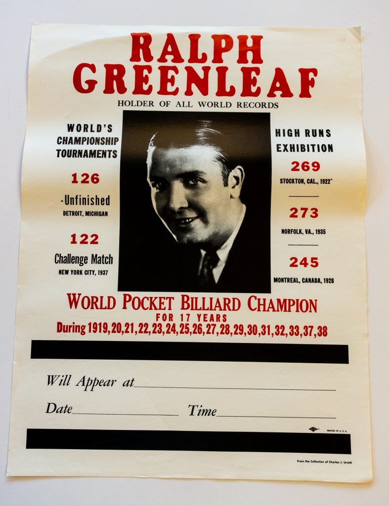 Ralph Greenleaf Pool Player Vintage Billiards Poster