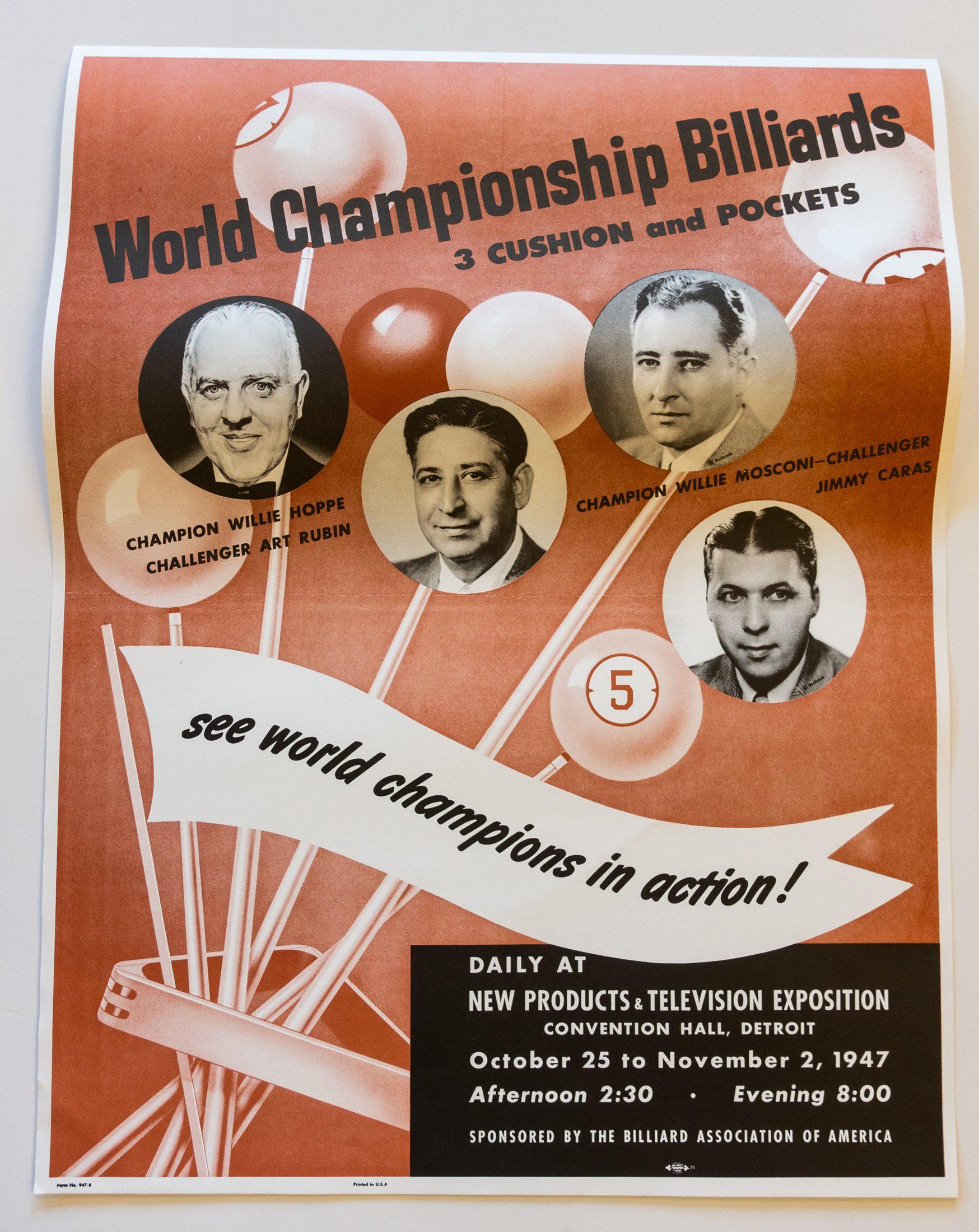 World Champions billiards poster