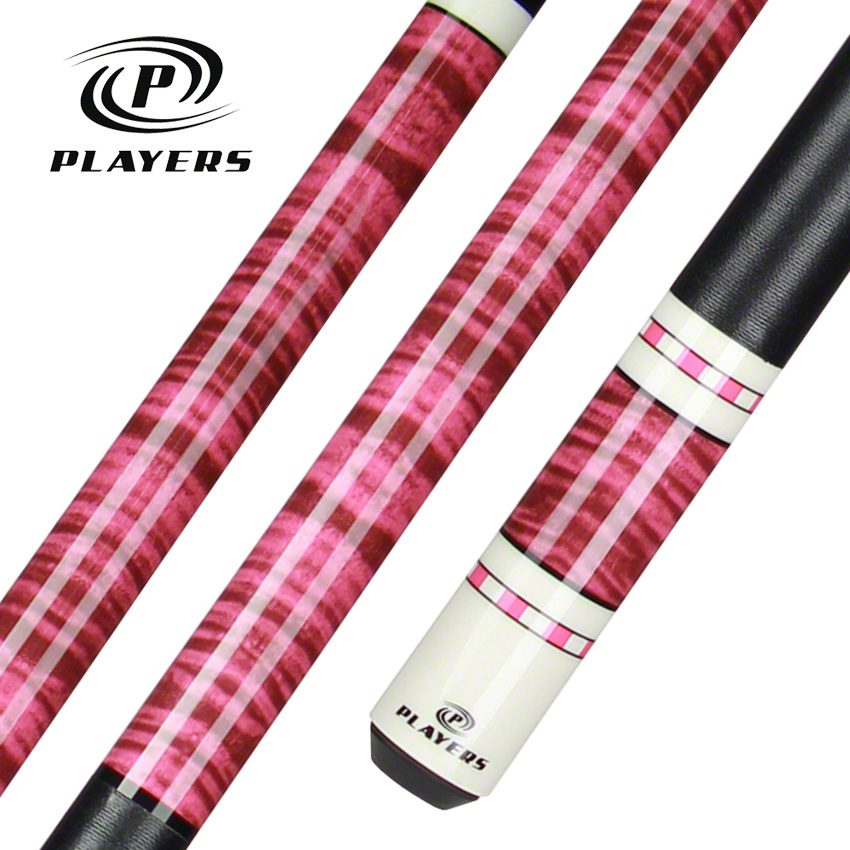 Players G 942 Pool Cue Hot Pink Curly Maple Forearm And