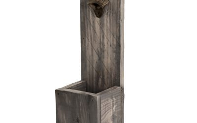 Wall Mount Bottle Opener with Catch – Reclaimed Wood