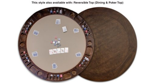 Top view of poker and dining top