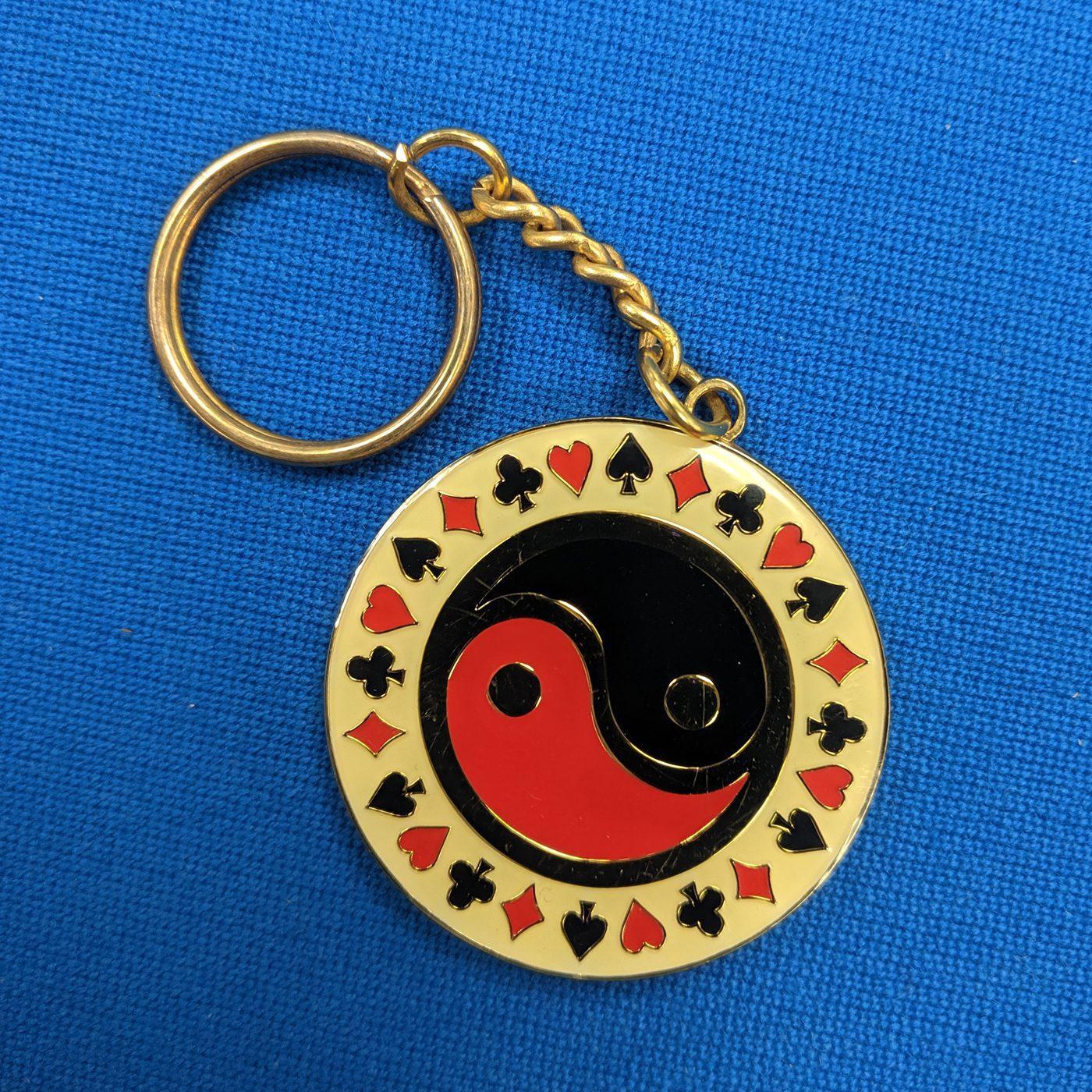 ying yang poker keychain