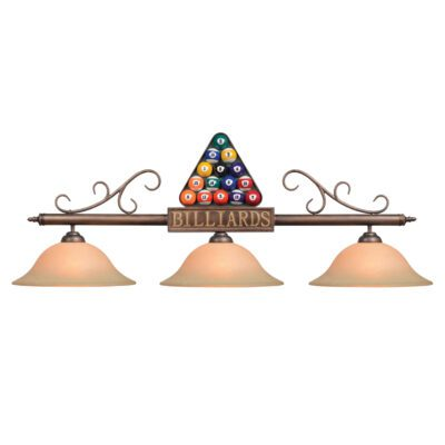 """BILLIARDS"" & RACK 3 SHADE 56"" POOL BALL BILLIARD LIGHT"