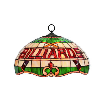 """BILLIARDS"" 16"" STAINED GLASS PENDANT LIGHT - RED"