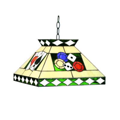 "TIFFANY POKER PENDANT LIGHT 18"" STAINED GLASS"