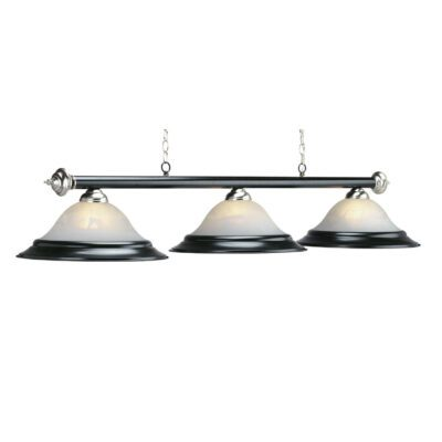 "3 SHADE 60"" BILLIARD LIGHT - MATTE BLK & STAINLESS"