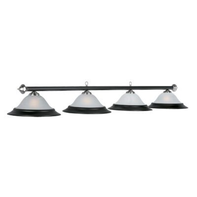 "4 SHADE 82"" BILLIARD LIGHT - MATTE BLACK & STAINLESS"