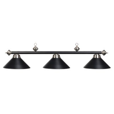 "3 SHADE 54"" BILLIARD LIGHT - MATTE BLACK & STAINLESS"