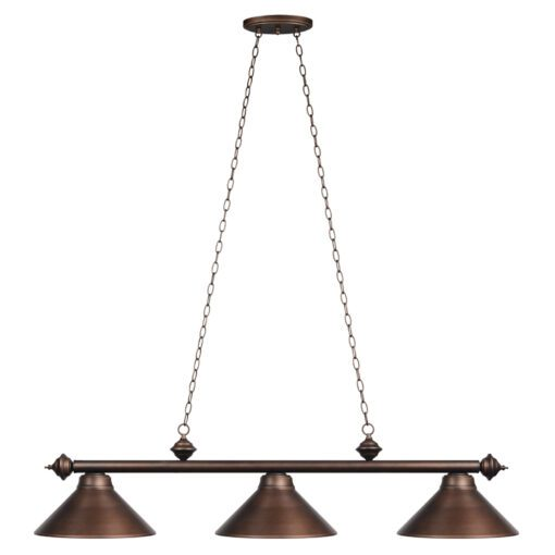 "3 SHADE 54"" BILLIARD LIGHT - OIL RUBBED BRONZE"