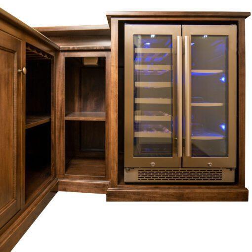 custom wood home bar refrigerator option