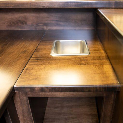 detail of custom wood home bar