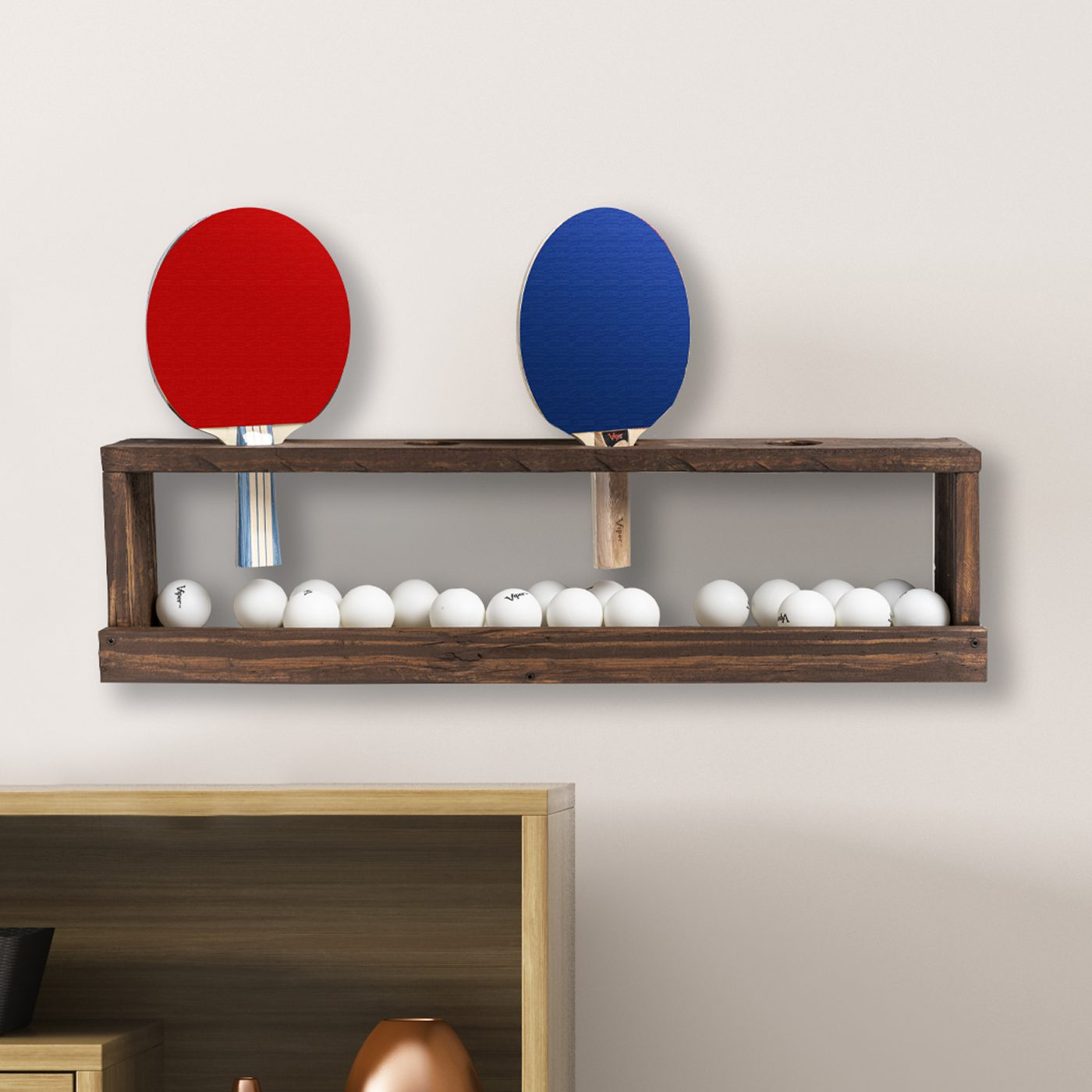 Wall Rack For Ping Pong Paddles Amp Balls Reclaimed Wood