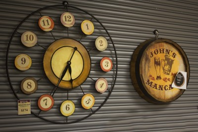 Clocks and decorations available for your man cave.
